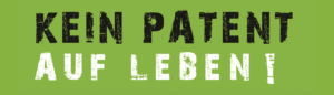 """Headergrafik """"Kein Patent auf Leben"""" grün"""